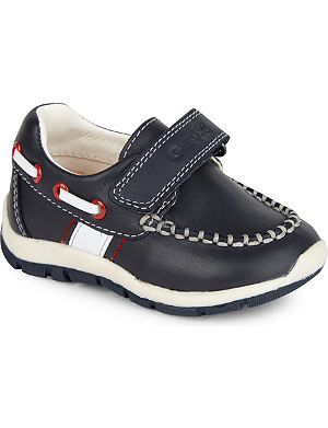 GEOX Velcro fastened leather boat shoes 1-4 years