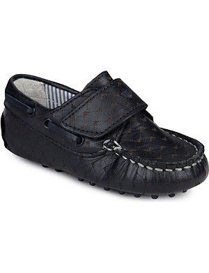 ARMANI JUNIOR All-over logo leather loafers 2-7 years