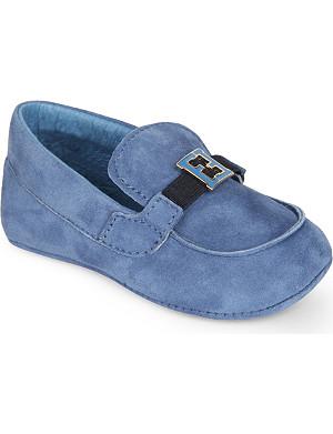 FENDI Logo detailled suede pram loafers 6 months - 1 year