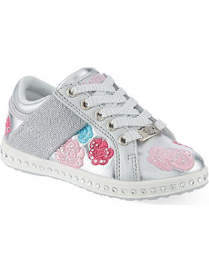 LELLI KELLY Silver floral trainers 4-8 years