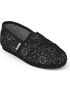 TOMS Crocheted lace canvas espadrilles 2-11 years