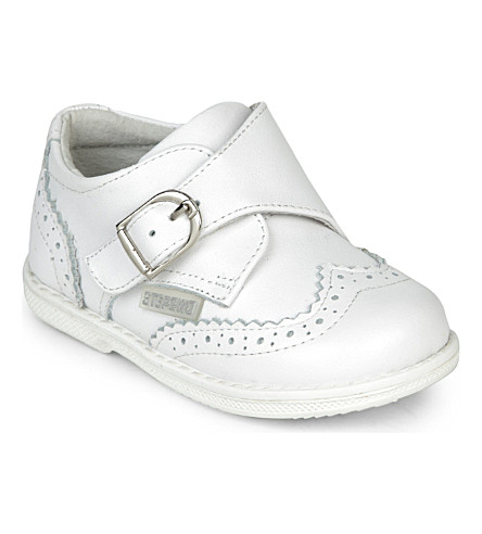 STEP2WO Picchio buckled leather shoes 1-4 years (White+leather