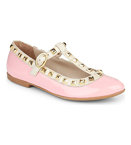 STEP2WO Studded Venetia t-bar shoes 6-11 years (Pink+patent