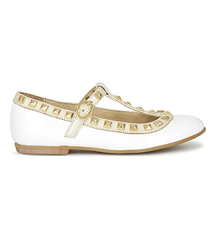 STEP2WO Venetia patent-leather t-bar pumps 3-11 years (White+patent