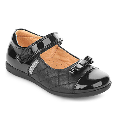 STEP2WO Velina 绗缝酒吧鞋 4-9 年 (黑色 + 皮革