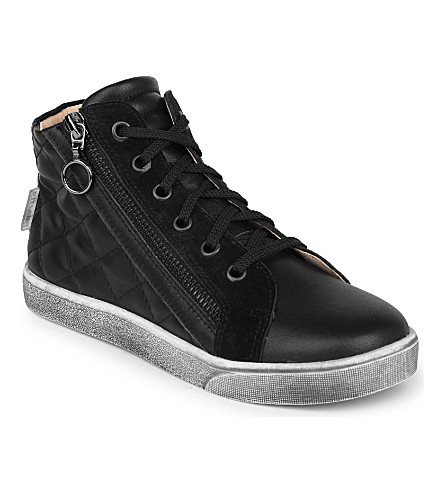 STEP2WO Craven leather high-top trainers 7-11 years (Black+leather