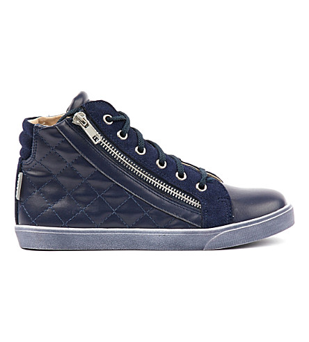 STEP2WO Craven leather high-top trainers 7-11 years (Navy+leather