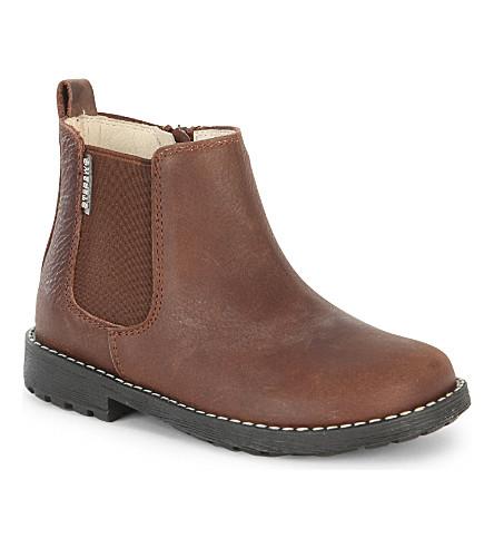 STEP2WO 迈克尔皮革靴子 2- 5 岁(棕 + 皮革