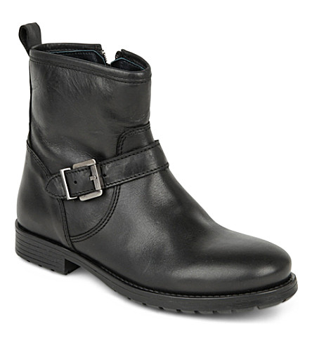 STEP2WO Harley2 leather biker boots 6-10 years (Black+leather
