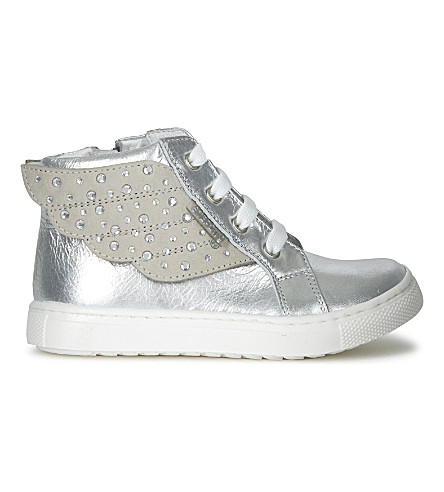 STEP2WO Angel 2 winged patent trainers 6 months-5 years (Silver+leather