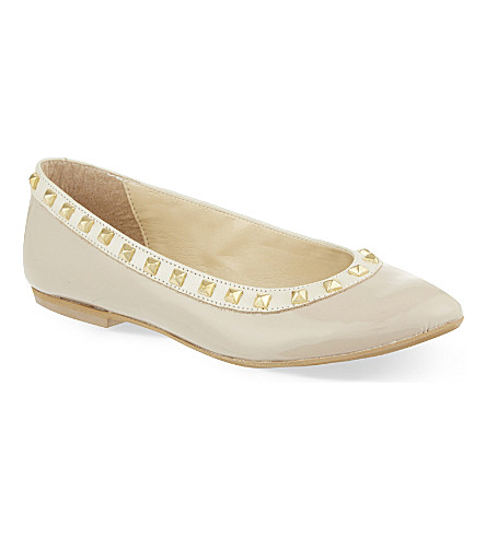 STEP2WO Piazza studded leather ballerina shoes 7-11 years (Beige