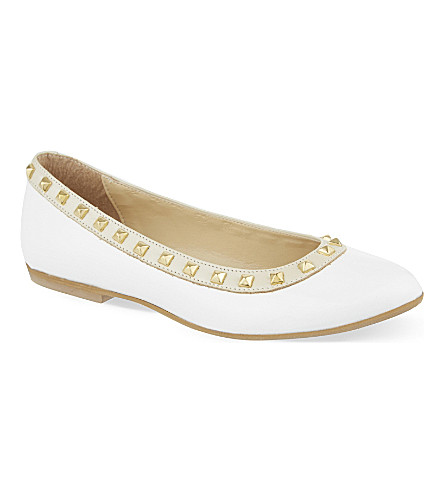 STEP2WO Piazza studded leather ballerina shoes 7-11 years (White+patent