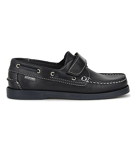 STEP2WO Starboard velcro leather shoes 4-12 years (Navy+leather