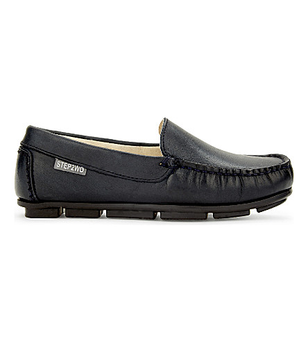 STEP2WO Brady leather loafers 6-12 years (Navy+leather