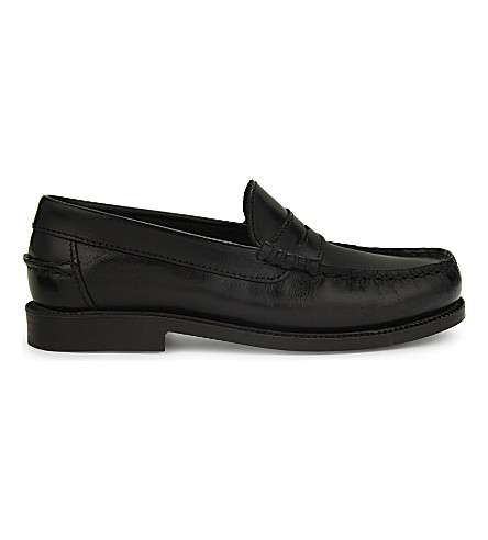 STEP2WO 版税皮革莫卡辛鞋履 10-12 岁(黑色 + 皮革