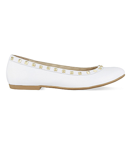 STEP2WO Piazza 2 leather studded ballerina pumps (White+patent