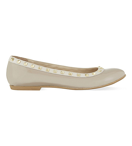 STEP2WO Piazza 2 leather ballerina studded pumps (Beige+patent