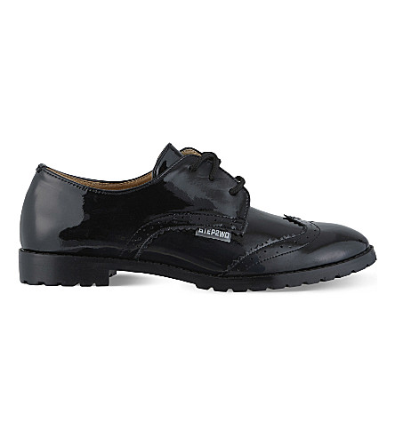 STEP2WO Stingford 2 patent lace-up school shoe (Black+patent