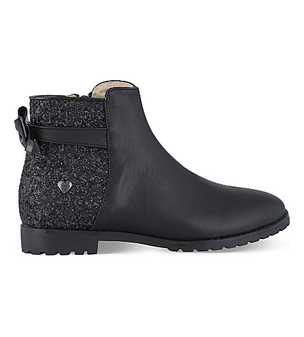 STEP2WO Silvia bow detail ankle boots 7-11 years (Black+leather