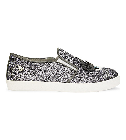 STEP2WO Eyes2 glitter slip-on trainers 6-9 years (Silver+glitter