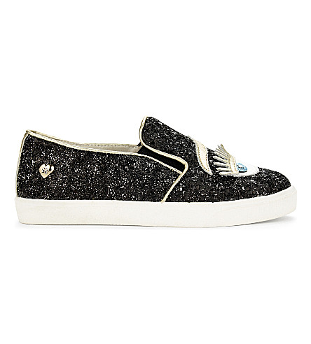 STEP2WO Eyes2 glitter slip-on trainers 6-9 years (Black+glitter