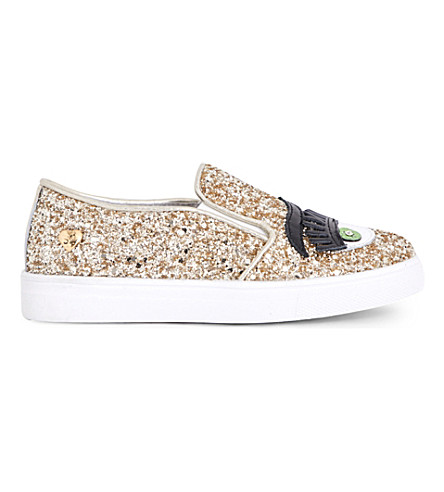 STEP2WO Eyes2 glitter slip-on trainers 6-9 years (Gold+glitter