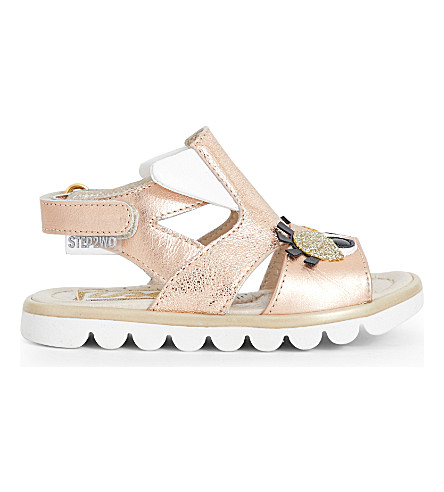 STEP2WO Cuckoo metallic-leather sandals 6 months - 7 years (Rose+gold