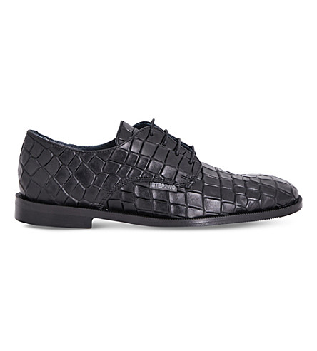 STEP2WO Croc-embossed leather Oxford shoes 7-12 years (Black