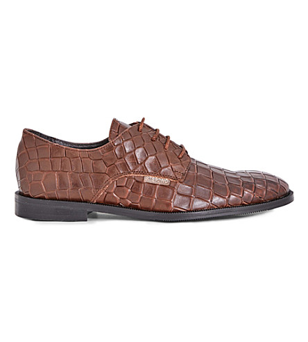 STEP2WO Croc-embossed leather Oxford shoes 7-12 years (Tan