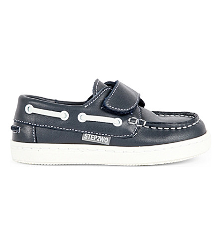 STEP2WO Carter leather boat shoes 1-5 years (Navy+leather