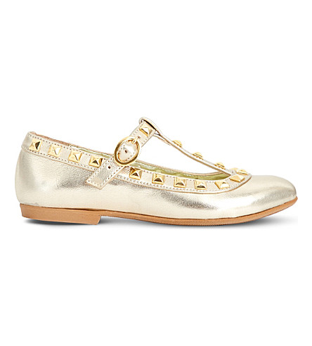 STEP2WO Venetia 2 metallic leather T-bar ballet flats 3-10 years (Gold