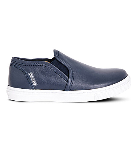 STEP2WO Smithy slip-on leather trainers 6-11 years (Navy+leather