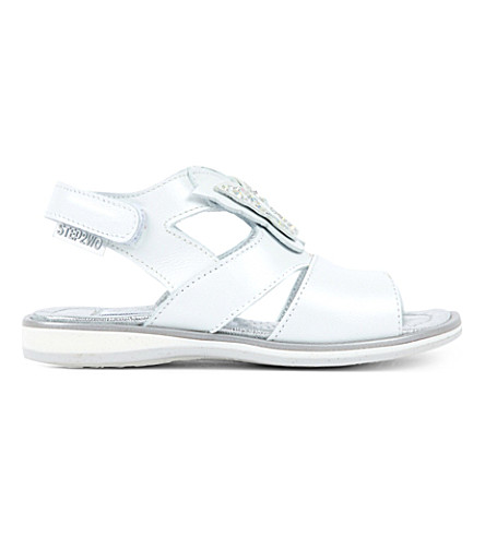STEP2WO Meadow metallic leather butterfly leathe sandals 1-5 years (White+leather