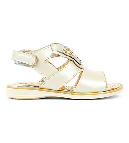 STEP2WO Meadow metallic leather butterfly leathe sandals 1-5 years (Beige+leather