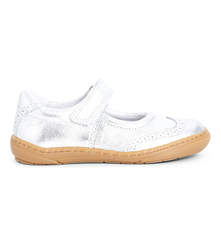 STEP2WO Clarissa leather metallic leather mary jane shoes 3-8 years (Silver+leather