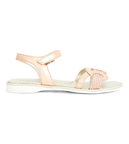 STEP2WO Richou metallic diamante-embellished sandals 6-10 years (Peach