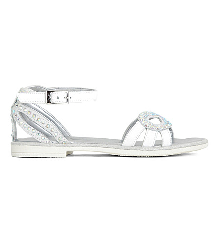 STEP2WO Rialta metallic diamante-embellished sandals 7-10 years (White+leather