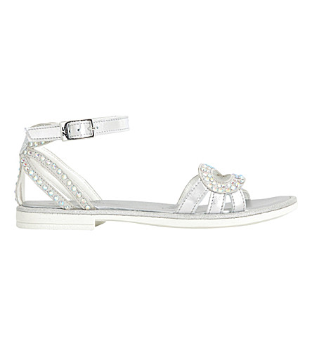 STEP2WO Rialta metallic diamante-embellished sandals 7-10 years (Silver+leather