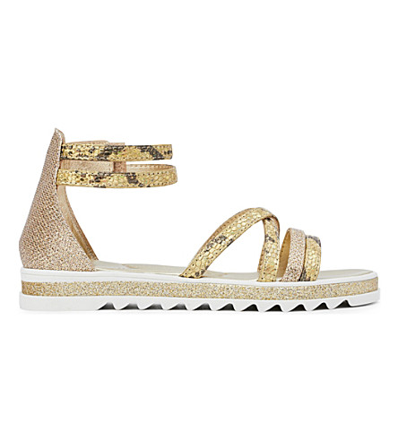 STEP2WO Efertiti glitter and snakeskin-print leather sandals 6-10 years (Gold