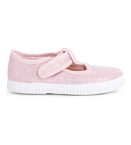 STEP2WO Mitch metallic-canvas T-bar shoes 6 months - 7 years (Pink+glitter