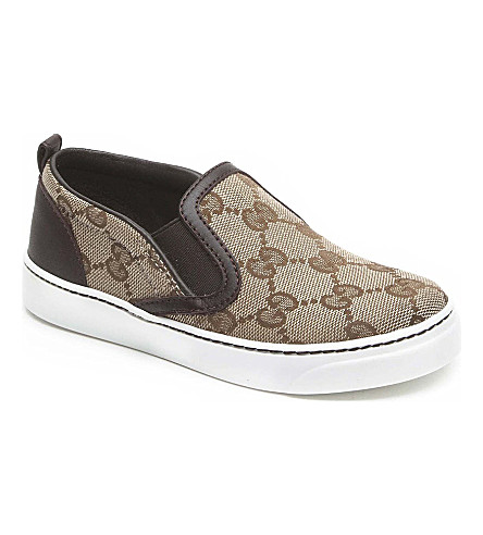 GUCCI Leather logo trainers 1-4 years (Beige
