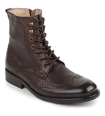 STEP2WO Lace up boot 7-11 years (Brown+leather