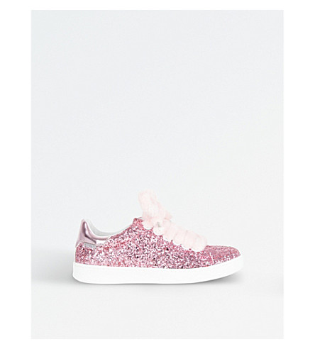 STEP2WO Fuzzy Faux-Fur Lace Glitter Trainers 6-10 Years (Pink+glitter