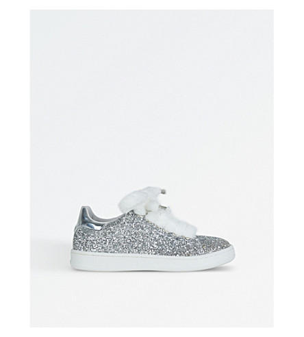 STEP2WO Fuzzy Faux-Fur Lace Glitter Trainers 6-10 Years (Silver+glitter