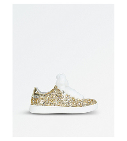 STEP2WO Fuzzy Faux-Fur Lace Glitter Trainers 6-10 Years (Gold+glitter