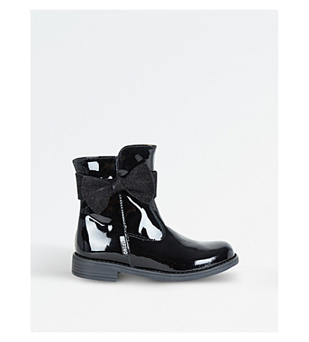 STEP2WO Vicky Bow-detail Patent Leather Boot 4-8 Years (Black+patent