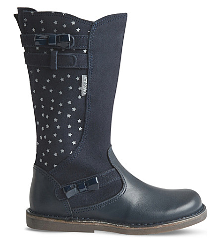STEP2WO Sonia leather and suede star boots 3-7 years (Navy