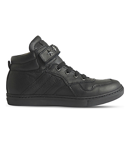 STEP2WO Starship leather high-top trainers 5-10 years (Black+leather