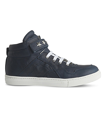 STEP2WO Starship leather high-top trainers 5-10 years (Navy+leather