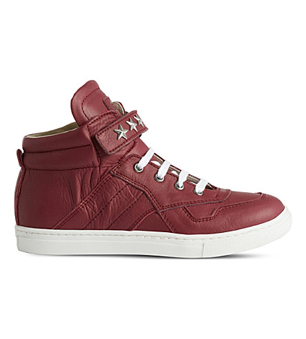 STEP2WO Starship leather high-top trainers 5-10 years (Wine+leather